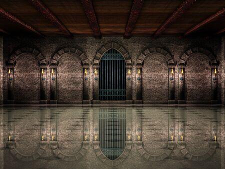 Salón medieval y puerta de hierro Foto de archivo