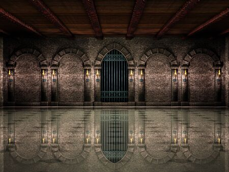 Sala medievale e cancello in ferro Archivio Fotografico