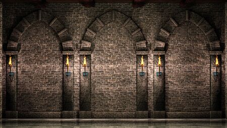 Stone wall with arches and torches Stok Fotoğraf - 133623297