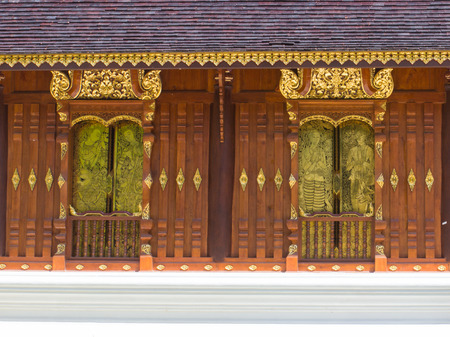 asian art: lanna gold asian art window Thai temple