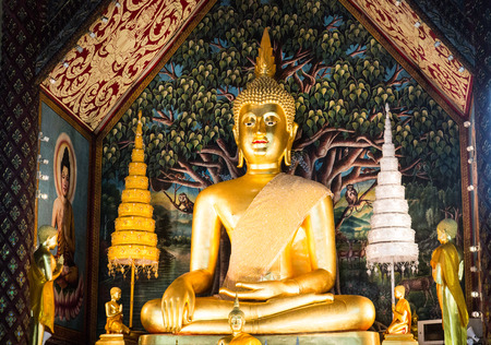 golden buddha statue in temple monastery