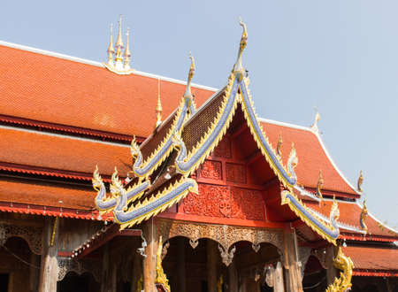 asian art: asian art temple roof with blue sky Stock Photo