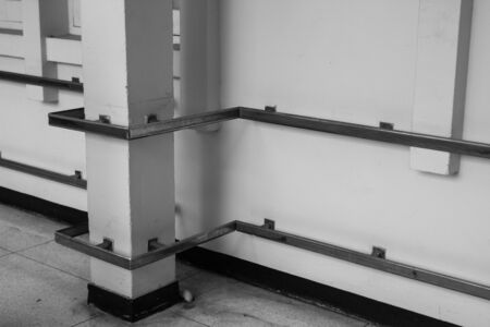 metal handrail: metal handrail in hospital corridor