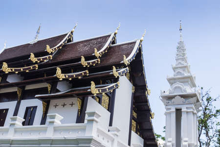 asian art: asian art white temple church with blue sky background