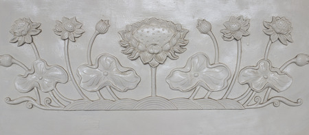 white lotus sculpture banister in chinese temple photo