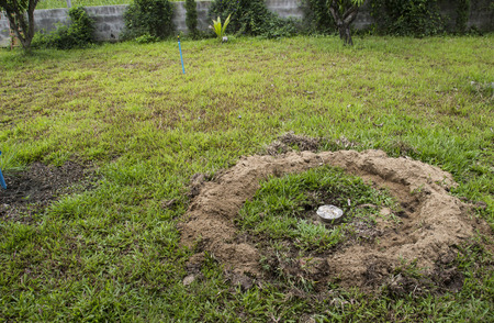 septic tank of lavatory buried in lawn yard Banque d'images