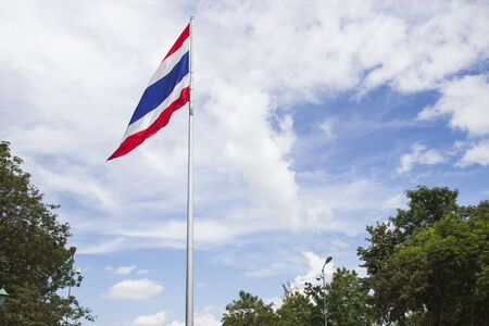 wafting: Thailand flag on flagstaff is wafting along with the wind