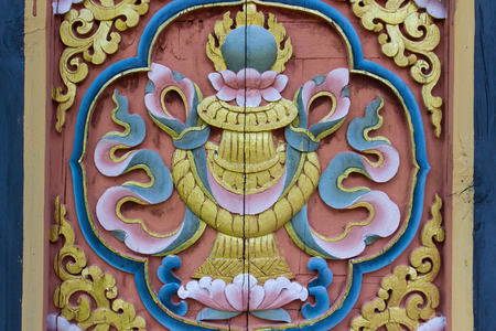 the design of bhutan carving art on the wall