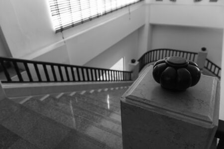 bannister: interior design of stair step and bannister
