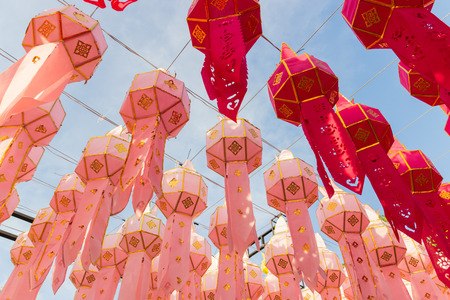 decorating paper lantern on Yeepeng festival, thailand lanna tradition religion in Chiangmai thailand