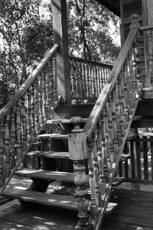 banister: the design of thailand traditional vintage wooden stair and banister