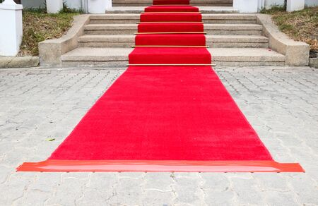 fames: red carpet on the ground and stair to the entrance