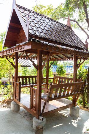 gazebo: asian style wooden gazebo in the garden Stock Photo