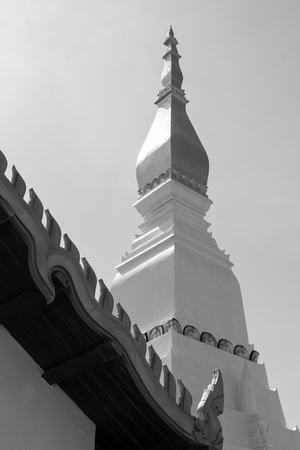 buddhist temple roof: white buddhist pagoda near temple roof, black and white