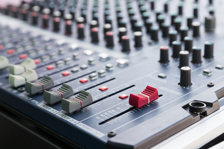 sound mixer: slider and knob of sound mixer console