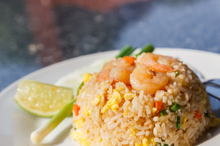 fried shrimp: fried rice with shrimp on top Stock Photo