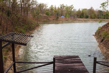 beside: wooden pier beside the lake in forest