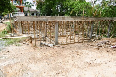 scaffold: the scaffold and building structure during construction