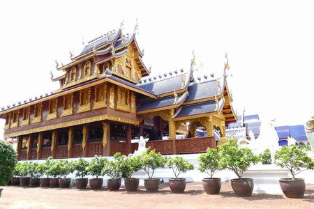 spiritual architecture: architecture of buddhist church in temple in Thailand
