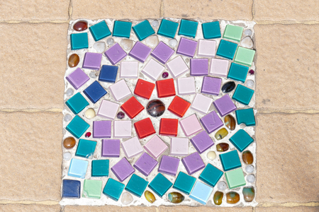 mosaic floor: the art design of colorful stone and mosaic tile decorating on temple floor for abstract background Stock Photo