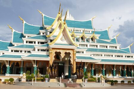 spiritual architecture: Udon Thani, Thailand - June 1, 2015:  thailand style architecture of buddhist church at Wat Papoogon temple on June 1, 2015 in Udon Thani, Thailand.