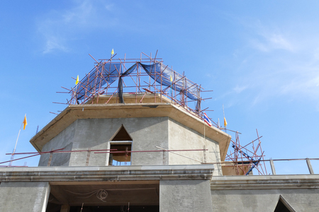 spiritual architecture: The structure of buddhist pagoda architecture during construction Stock Photo