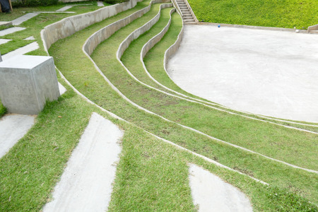 tiered: tiered seat of the amphitheater and outdoor stage