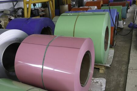 ironworks: metal roll for production metal sheet in the factory warehouse