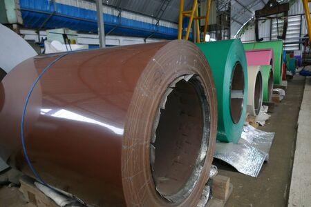 metal sheet: metal roll for production metal sheet in the factory warehouse