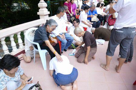 ordination: Phatthalung, Thailand - July 30, 2015: The buddhist nun ordination ceremony in Santibunpot temple.