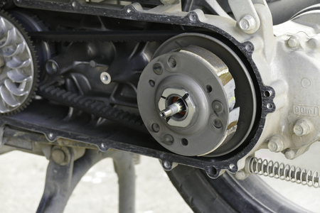 view inside of the pulley and belt of motorcycle