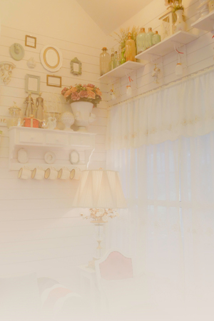 ceramic bottle: vintage style room with drape curtain, lamp, chair, bottle on shelf, ceramic doll, picture frame on the wall (color filter and soft focus)