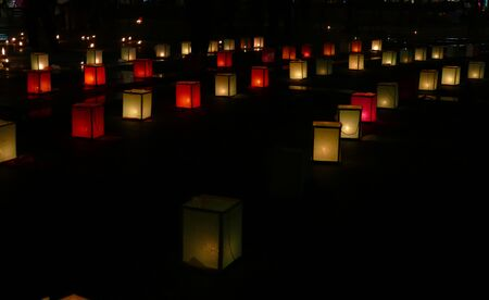 yeepeng: paper lantern and candle light in Yeepeng festival in Chiang Mai, Thailand Stock Photo