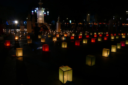 yeepeng: Chiang Mai, Thailand - November 26, 2015: paper lantern and candle light in Yeepeng festival at three king monument in Chiang Mai, Thailand on November 26, 2015. Editorial