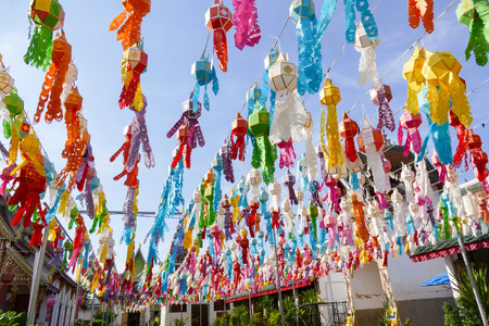 thai decor: colorful paper lantern decoration for traditional Yeepeng festival in Thailand