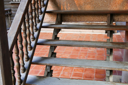 bannister: wooden bannister of the stair of thailand traditional house
