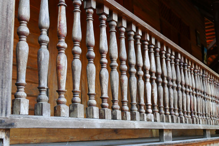 bannister: old wooden bannister of the balcony terrace