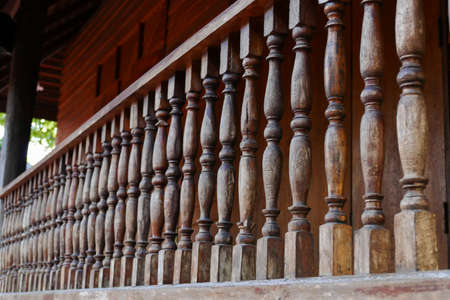 balcony: old wooden bannister of the balcony terrace