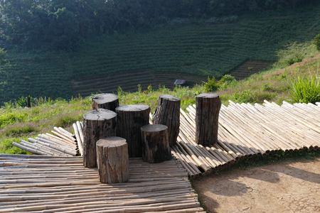 timber bench seat: tree trunk log seat on the patio on the mountain