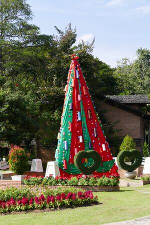 man made: man made christmas tree in garden for holiday concept Stock Photo