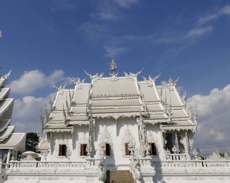 thai temple: art and sculpture design of white church in Wat Rong Khun temple in Thailand Stock Photo
