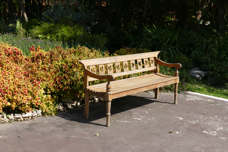 old furniture: wooden seat bench for resting in the park Stock Photo