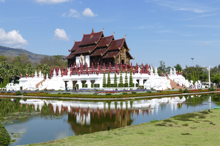 people travelling: Chiang Mai, Thailand -  January 2, 2016: People travelling to see the royal pavilion in royal park rajapruek  in Chiang Mai, Thailand on January 2, 2016.