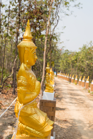 asian angel: golden asian angel statue beside the walkway in forest