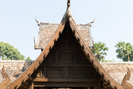gable: the art design of wooden sculpture on ancient buddhism temple gable