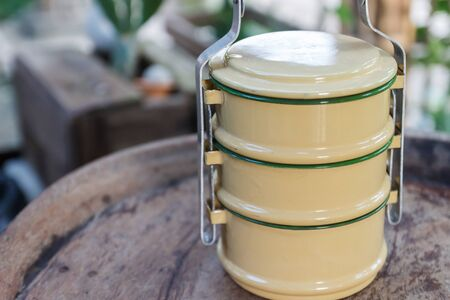 tiffin: the design of thailand traditional beige tiffin carrier