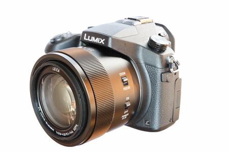 Chiang Mai, Thailand - May 14, 2015: Panasonic Lumix DMC- FZ1000 bridge digital camera isolated on white background