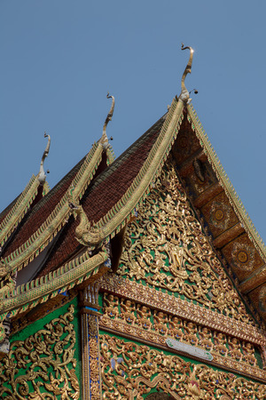 gable: the art design of sculpture on buddhism temple gable Stock Photo