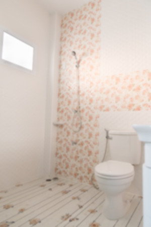 bathroom interior: lavatory flush toilet bathroom (blurry defocused for interior background) Stock Photo