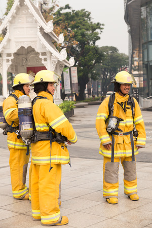 hazmat: Chiang Mai, Thailand - March 25, 2016: firefighter in mock disaster drill at Maya shopping center in Chiang Mai, Thailand on March 25, 2016.